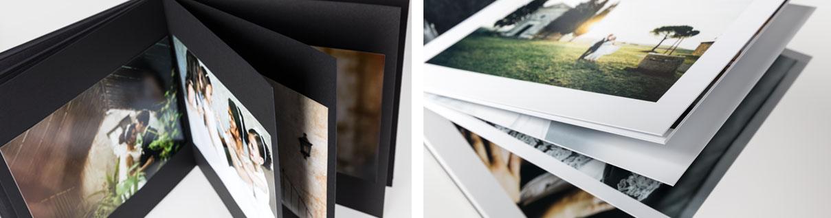 Album wedding Monnalisa. Tipologie di blocco digitale e blocco piatto.